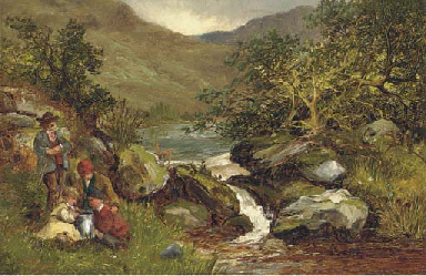 An angling party on a river ba