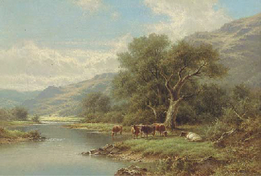 Cattle on the bank of a river;