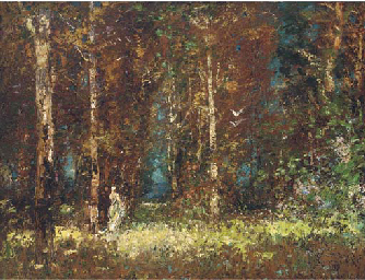Figures in a woodland glade