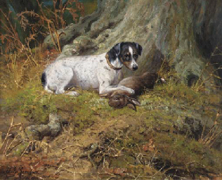 A terrier with a hare
