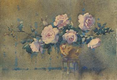 Roses in a bronze pot