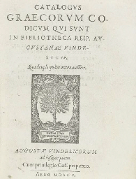 AUGSBURG, City Library -- David HOESCHEL (1556-1617). Catalogus Graecorum...