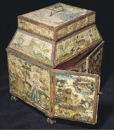 An embroidered casket, worked in couched silks with the sacrifice of Isaac embroidered to the front, the back depicting Esther before King Ahasuerus, beneath flowers and animals including a lion and a unicorn, the front panel centre-opening to drawers faced with salmon pink silk plush, with hinged lid and secret compartments--12½in. (32cm.) high x 11¾in. (30cm.) wide x 9in. (23cm.) deep, English, 17th century, some wear