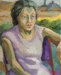 Jeune femme à la robe mauve