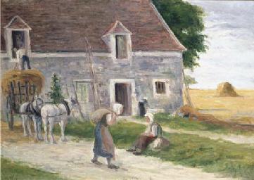 Paysans devant la ferme