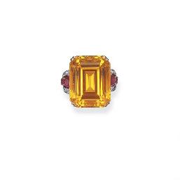 A CITRINE, DIAMOND AND RUBY RI