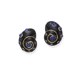 A PAIR OF ONYX AND SAPPHIRE EA