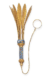 AN ANTIQUE ENAMEL AND GOLD POS