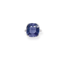 AN ART DECO SAPPHIRE RING, BY