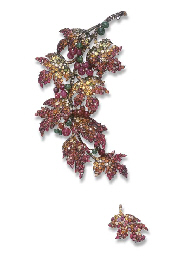 A PAIR OF MULTI-GEM BROOCHES,