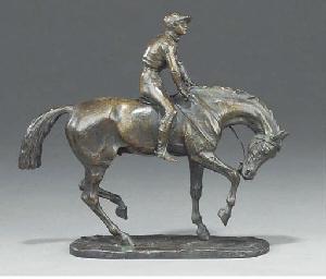 An equestrian bronze group