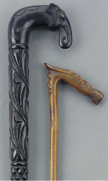 Two Anglo Indian carved ebony