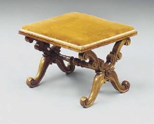 A Victorian walnut X-framed an