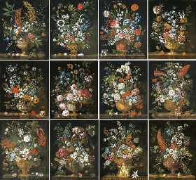 The Twelve Months of Flowers, a floral calendar of still lifes: January; February; March; April; May; June; July; August; September; October; November; and December