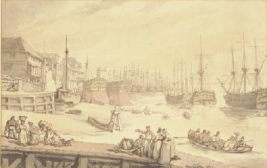The West India Docks, Blackwall, with warships lying on the stocks