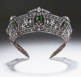 A MAGNIFICENT ANTIQUE EMERALD AND DIAMOND TIARA