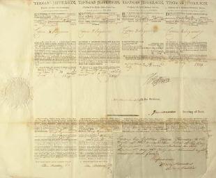 JEFFERSON, Thomas. Engraved document signed (