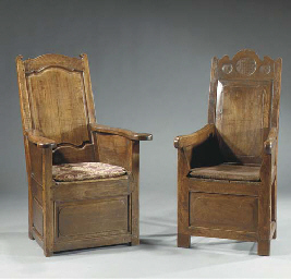 A FRENCH PROVINCIAL WALNUT BOX-BASE ARMCHAIR