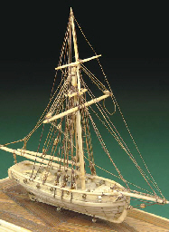 A miniature Napoleonic prisoner of war model of the naval cutter Fly