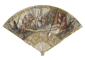 QUEEN ESTHER AND KING AHASUERUS, A PAINTED FAN