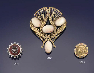 An Art Nouveau gold and gem medallist brooch and six cultured pearl dress studs