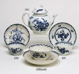 AN ENGLISH BLUE AND WHITE TEAB