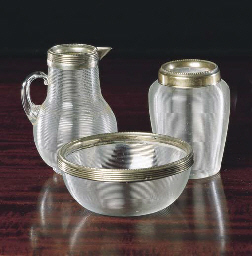 A SILVER MOUNTED RIBBED GLASS