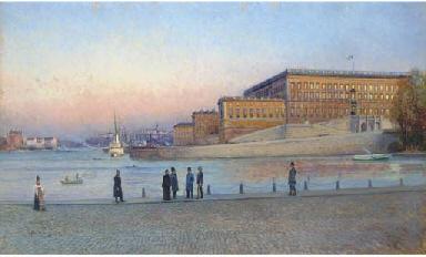 Elegant figures on the quay be