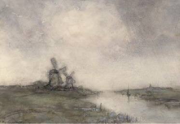 Polder landscape with windmill