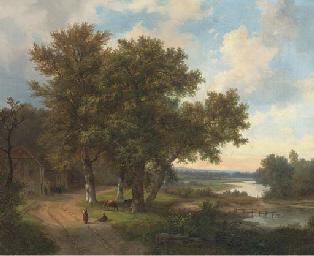 Figures at a riverside cottage