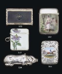A silver-gilt and enamel vesta