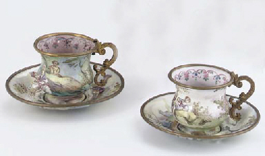 TWO GILT-METAL MOUNTED VIENNES