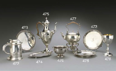 A GEORGE II SILVER KETTLE-ON-S