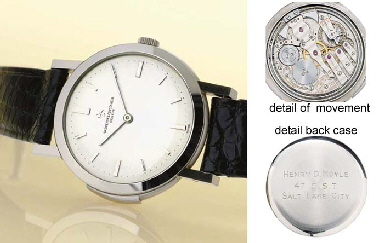 vacheron constantin. a very fine, rare, large and ultra-thin 18k white gold minute repeating wristwatch