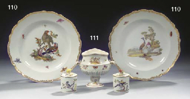 A pair of Meissen Marcolini ornithological plates and a pair of Meissen...