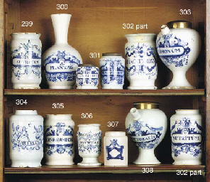 a dutch delft blue and white albarello