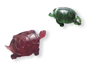 TWO CARVED TOURMALINE TORTOISE