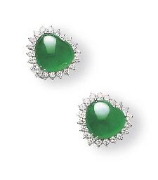 A JADEITE AND DIAMOND EARRINGS