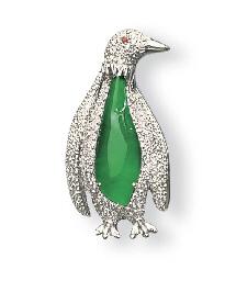 A JADEITE AND DIAMOND PENGUIN