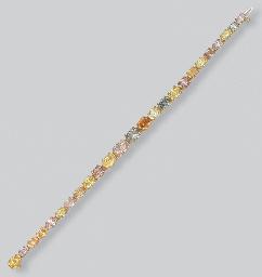 A COLOURED DIAMOND BRACELET