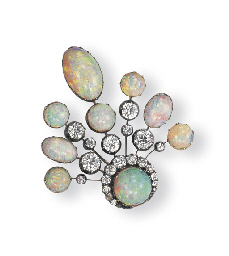 AN ANTIQUE OPAL AND DIAMOND PE