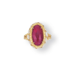 A RUBY, COLOURED DIAMOND AND M
