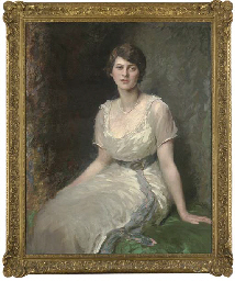 portrait of rosa lewis, seated three-quarter-length, in a white dress with a blue sash