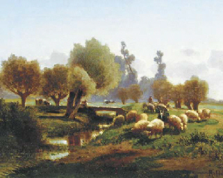 Sheep in a meadow by a stream