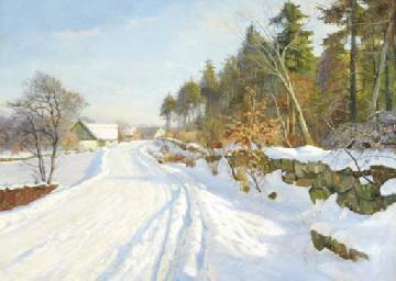 A snow covered road, Hösterköb