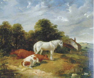 A horse and cattle resting by