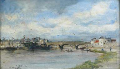 A river landscape with a bridg