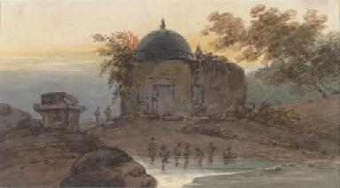 An Oriental temple at dawn