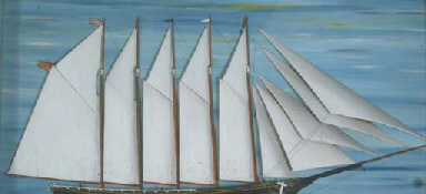 with wooden hull, veneer sails