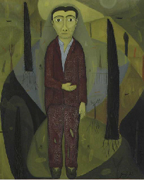 Standing man in a wooded lands